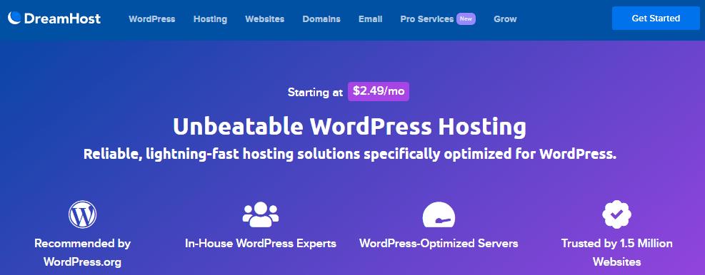 dreamhost fast optimized wordpress hosting wordpress.org recommendation