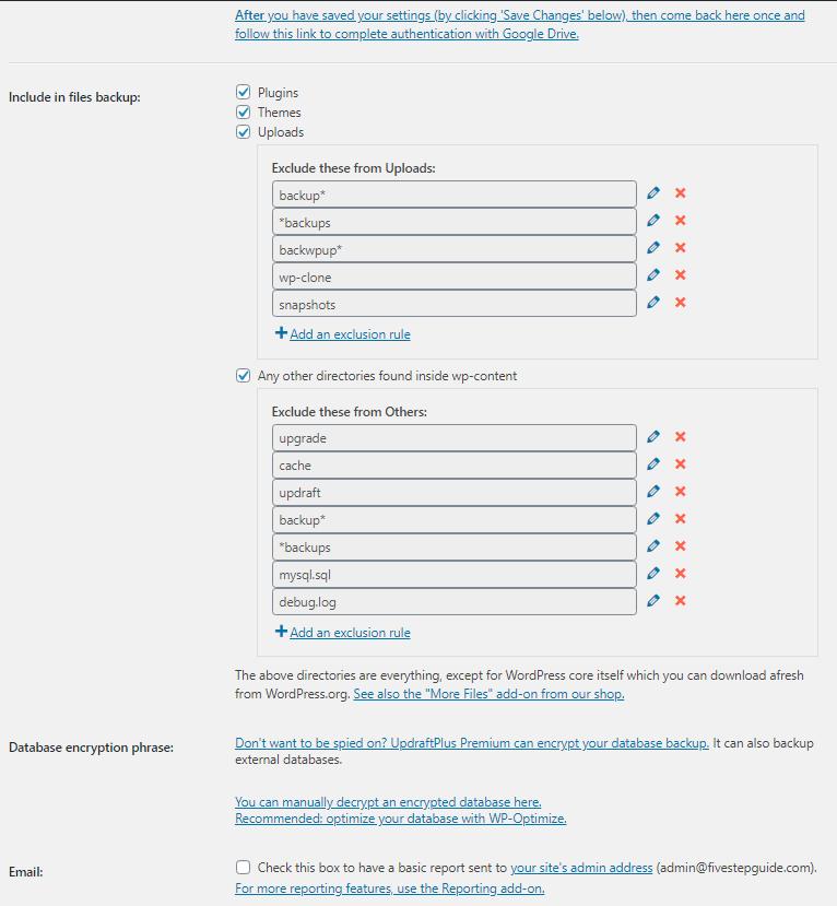 updraftplus settings to reduce page load time wordpress plugin